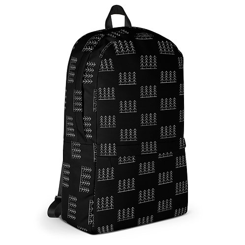 Forest & Fog Treeline All Over Print Backpack - Black