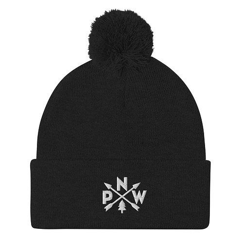 PNW Alpine Arrows Pom Pom Knit Cap