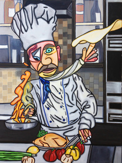 """Busy Chef 40"""" X 30"""""""