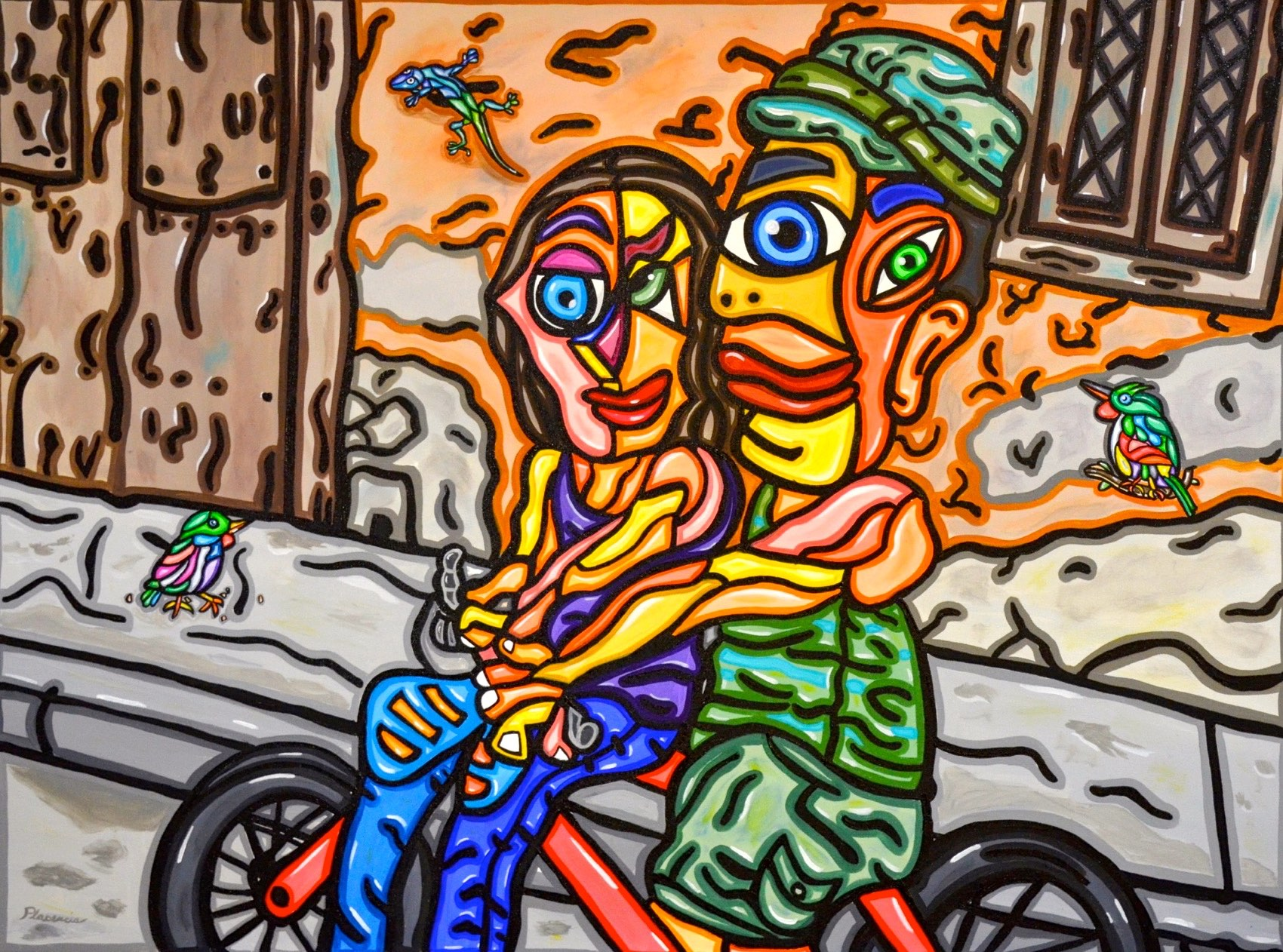 "Biking Together 30""X40"""