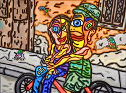 """Biking Together 30""""X40"""""""