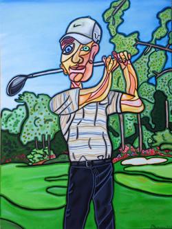 """Golfing in Augusta 40"""" X 30"""""""