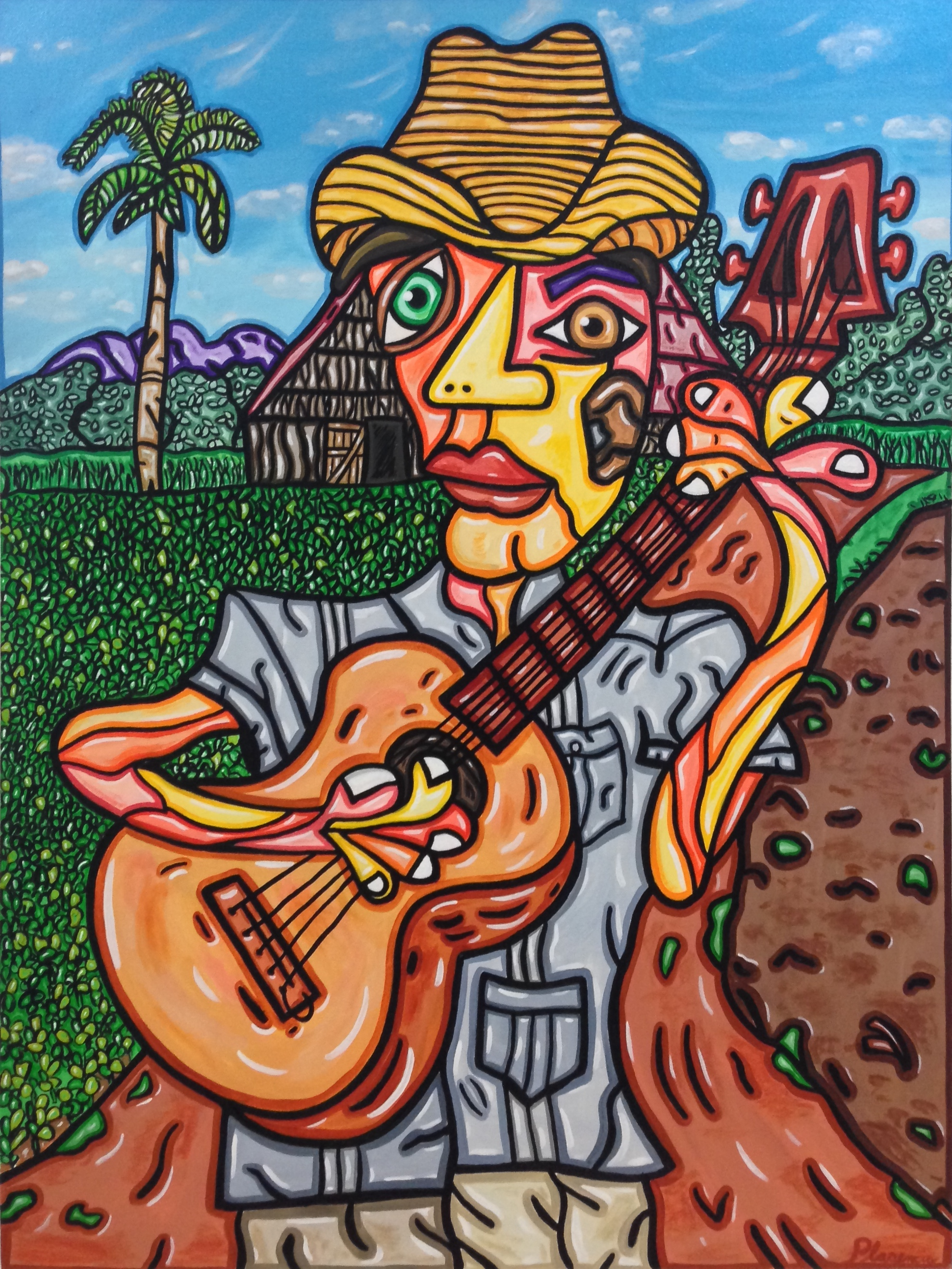 "The Guitar Player 40""X 30"""