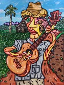"""The Guitar Player 40""""X 30"""""""