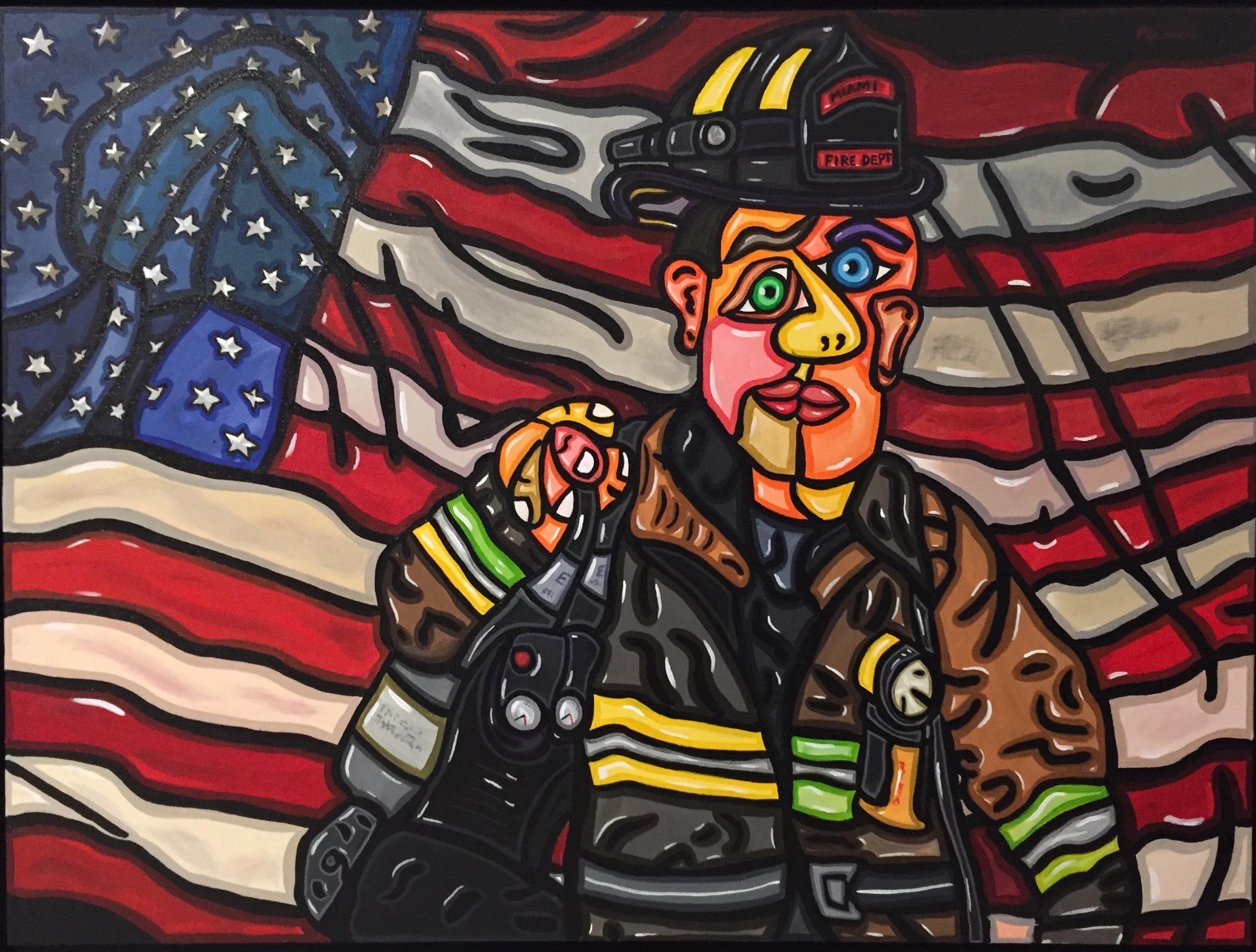 "American Firefighter 40""x 30"""