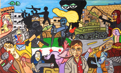 """Suffering In Syria 36"""" X 60"""""""