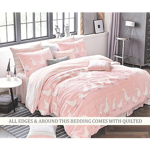 Duck Mink Touch Winter Comforter Queen Set_Pink