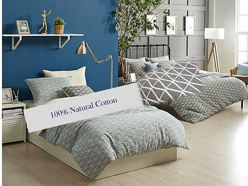King Plain 100% Natural Cotton Comforter Set