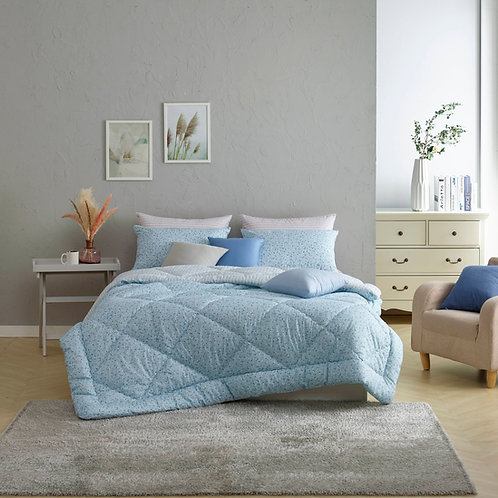Becky_Blue 100% Soft Touch Cotton Reversible Style Comforter Set