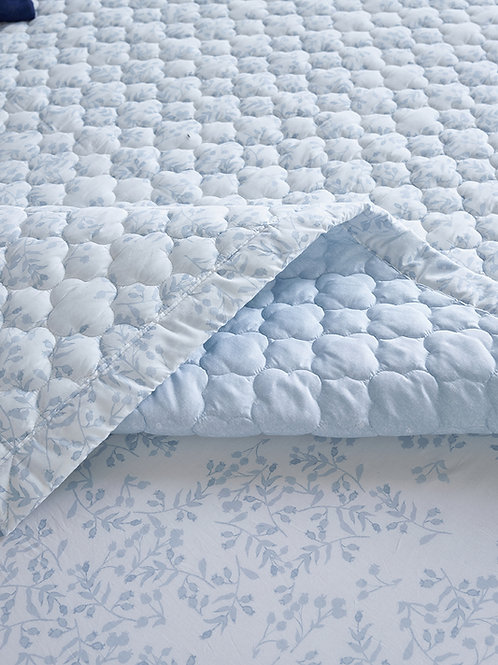100% High Density Cotton Quilt Pad_Light Blue_Queen