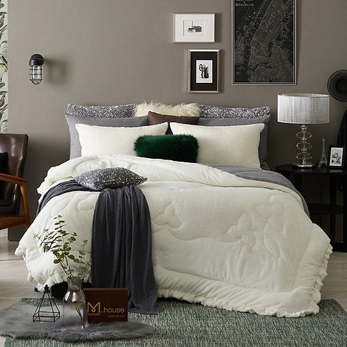 Premium Real Fur Touch Micromink Comforter Set_Ivory
