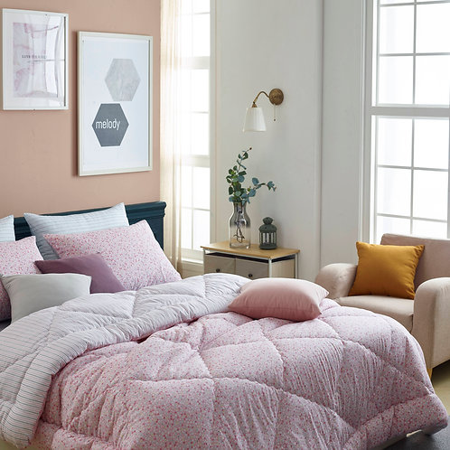Becky_Pink 100% Soft Touch Cotton Reversible Style Comforter Set