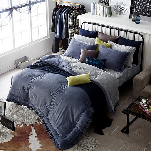 Premium Real Fur Touch Micromink Comforter Set_Navy