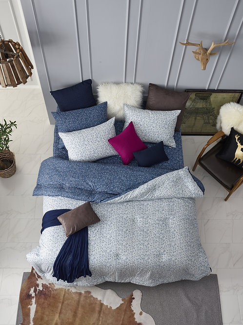 [ORGANIC Cotton] Navy Comforter 4pc Set _Queen + [FREE GIFT]