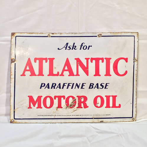 "Atlantic ""Paraffine Base"" Porcelain Sign"