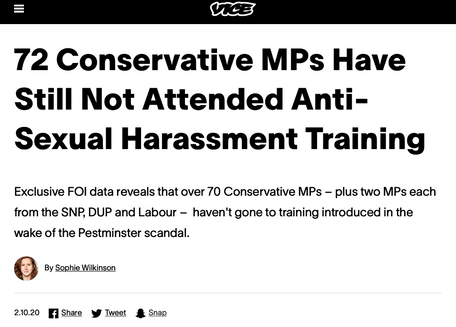 FOI investigation to check progress of MPs turning up to anti-harassment training, for VICE