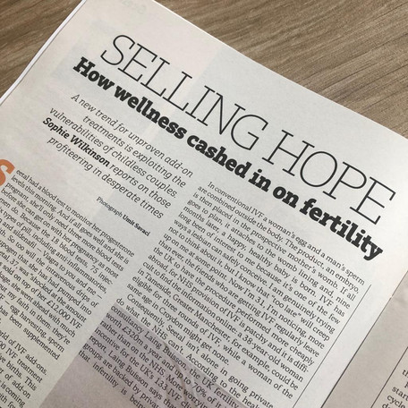 Selling Hope: how wellness cashed in on fertility, for The Sunday Times Style