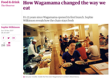 A Wagamama retrospective, for The Observer Magazine
