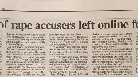 A report on the naming of rape accusers, for The Times
