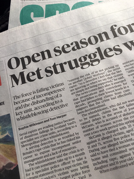 Open season for rapists, as Metropolitan police disbands sex crimes unit, for The Sunday Times