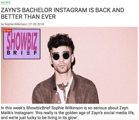 A deep dive into Zayn's Instagram posts, for The Debrief