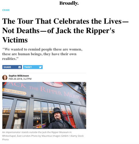 A Jack The Ripper tour with a difference, for Broadly