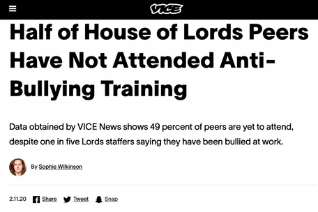 FOI investigation into Lords' take up of anti-harassment training, for VICE