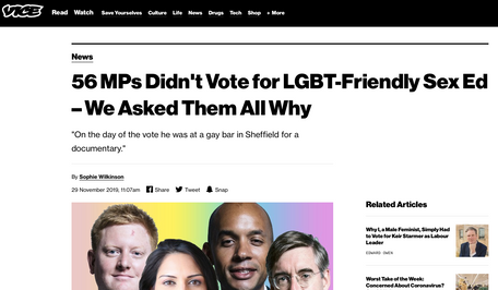 56 MPs didn't vote for LGBT-friendly sex-ed. We asked them why, for VICE