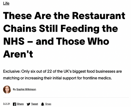 Asking restaurant brands if they'd still be donating to the NHS during the third lockdown, for VICE