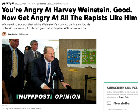 Op-ed on Harvey Weinstein's conviction, for Huffington Post