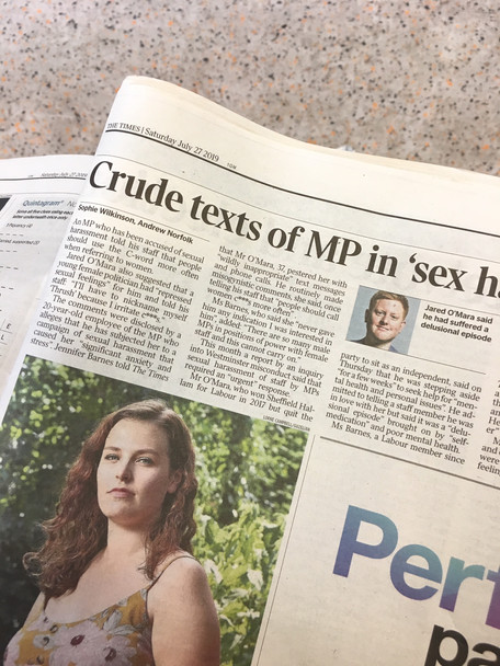 Crude texts of MP in 'sex harassment' scandal, for The Times