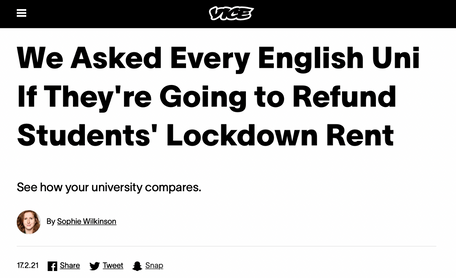 Asking every uni in England if they'd refund students' rent during lockdown, for VICE