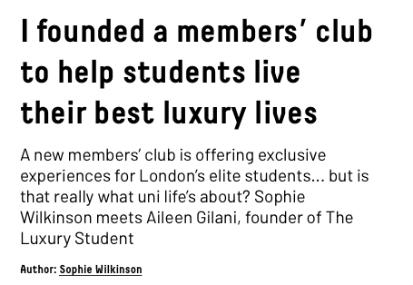 Q+A with a luxury student members' club, for TheStudentHighStreet.com