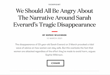 An op-ed on Sarah Everard's death and violence against women and girls, for British Vogue