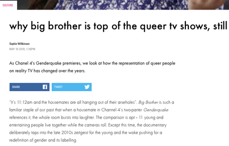 Why Big Brother is the best queer British reality TV show, still, for i-D