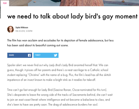 Lady Bird's gay moment, for i-D