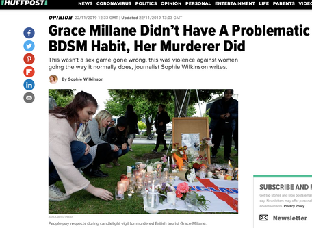 Op-ed about Grace Millane and the sneering toxicity of the 'rough sex' defence, for Huffingt