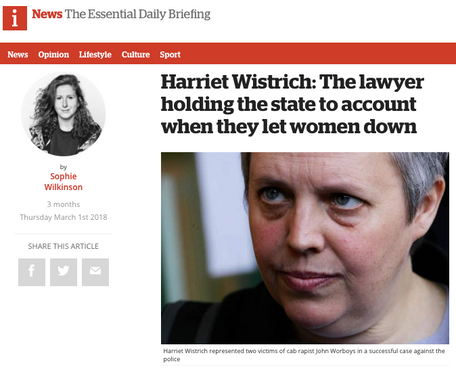 A profile of Harriet Wistrich, for The i Newspaper