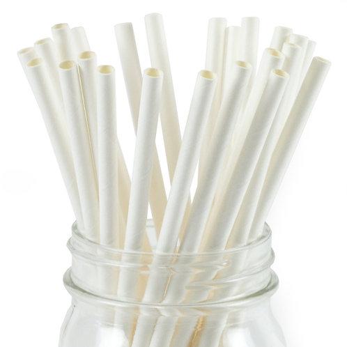 250 pcs - Ống hút giấy Trắng 6mm - White Paper Straws 6m