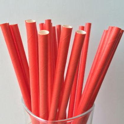 100 pcs - Ống hút giấy Đỏ 6mm - Red Paper Straws 6m