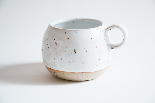 white flecked chubby coffee mug
