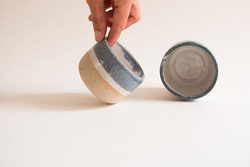5oz blue & white flecked espresso cups