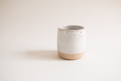white flecked coffee tumbler