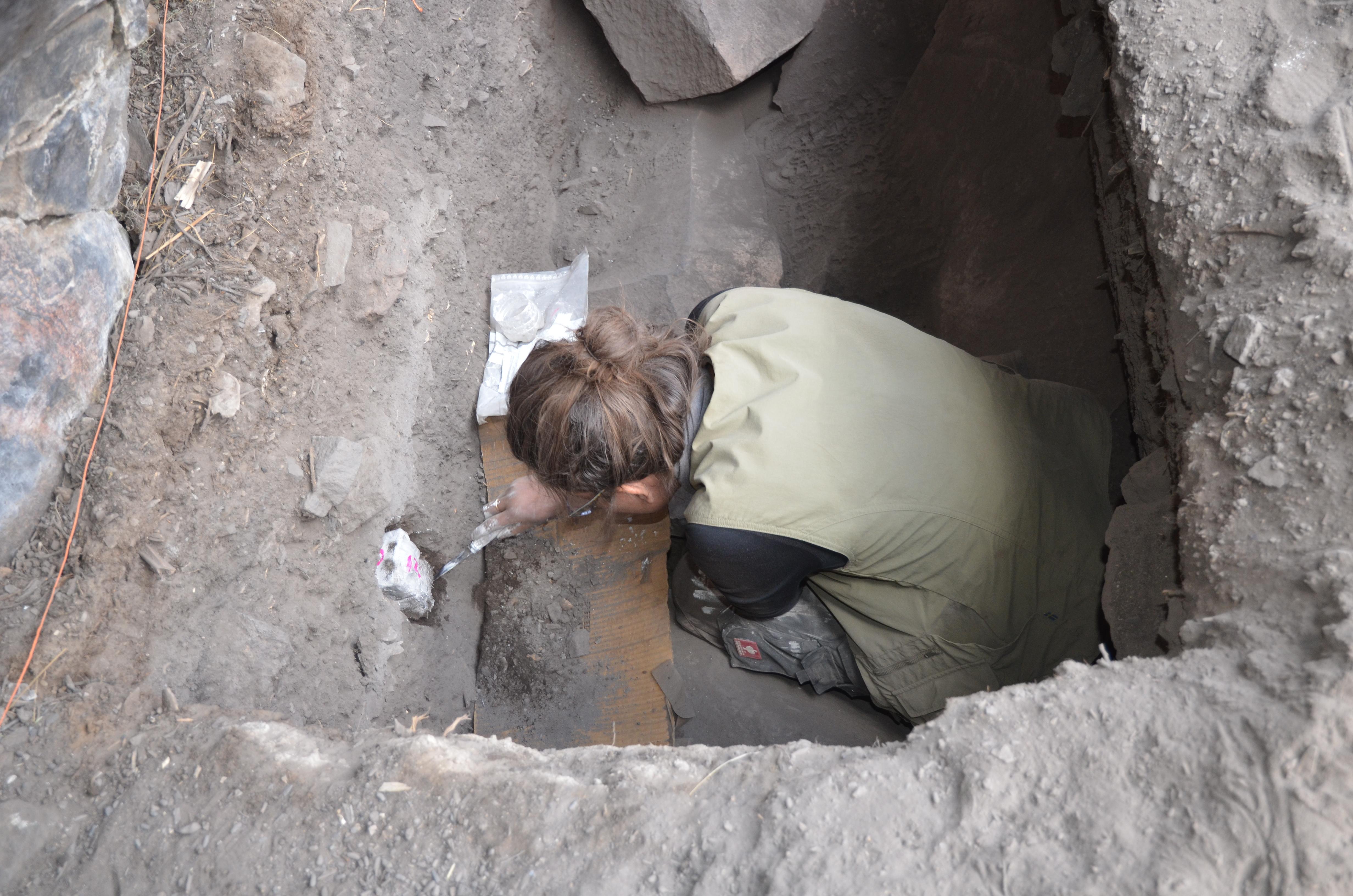 Sarah collecting micromorph samples