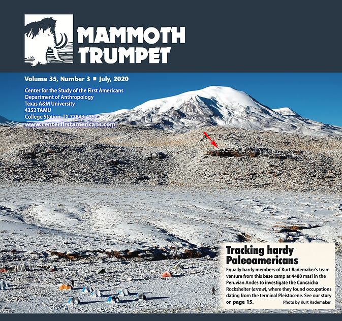 Screen capture of the Mammoth Trumpet magazine, showing a picture of a snow topped landscape