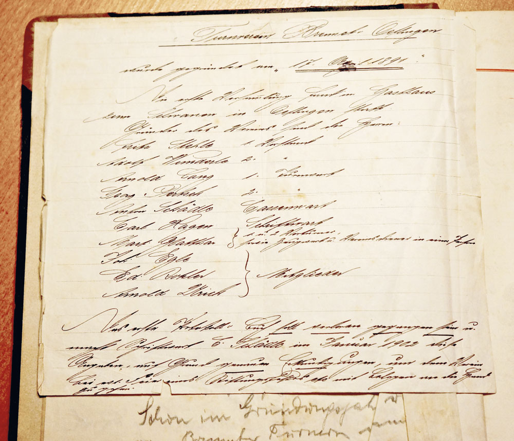 Gründungsprotokoll am 17.4.1891