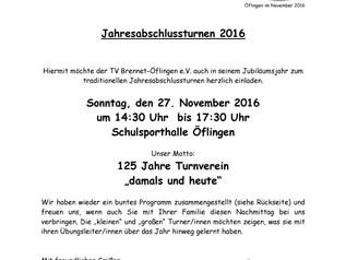 Einladung zum Jahresabschlussturnen 2016