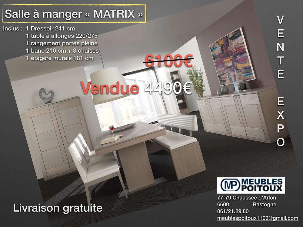 Salle à manger MATRIX comprenant 1 dressoir 241cm+1 table à allonges 220/275+1 rangement portes pleines+1 banc+3chaises+1étagère murale nous vous la livrons GRATUITEMENT !!!