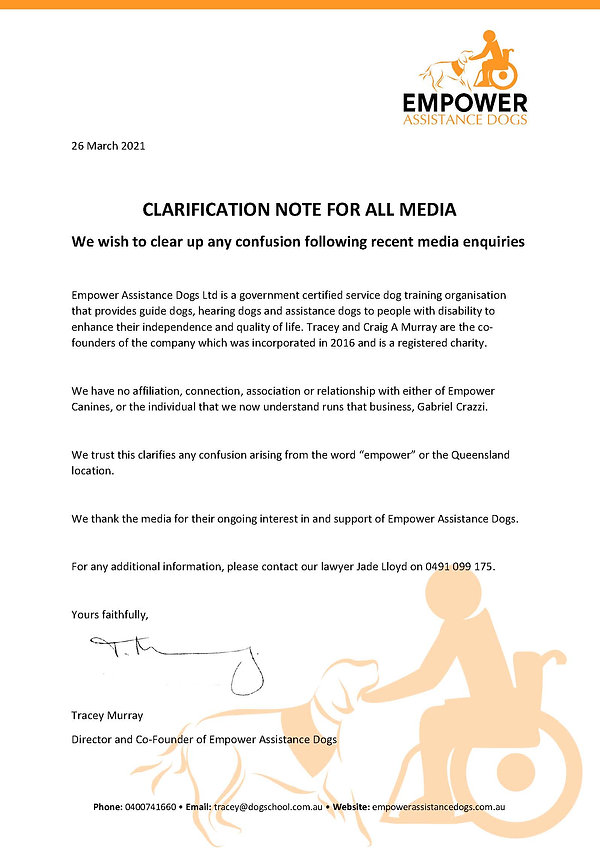 Empower Assistance Dogs Media Statement