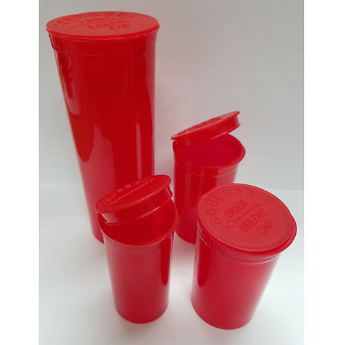 60 Dram Red Pop Top Bottles-1 cs